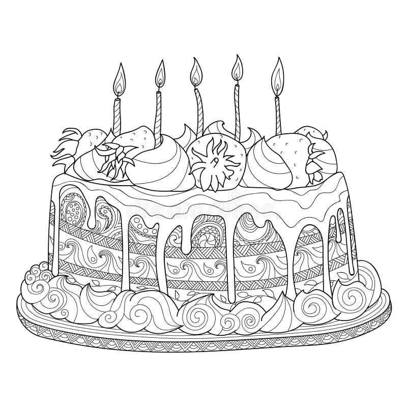 Kuchen für Malbuch lizenzfreie abbildung