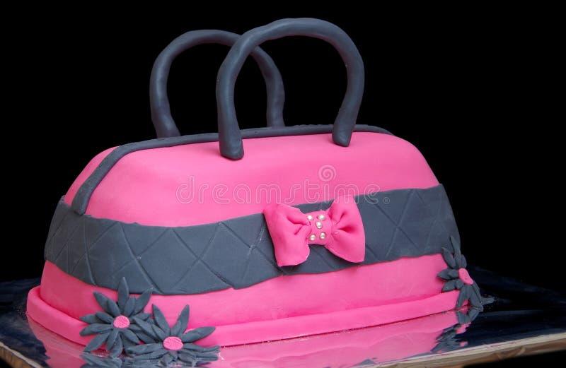 Kuchen in Form der Handtaschen stockbilder