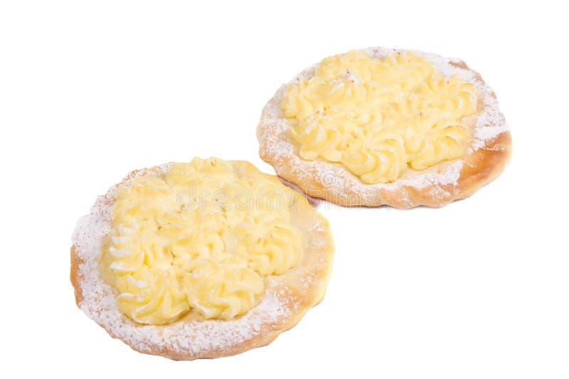 Kuchen, Käsekuchen, backte im Ofen, weißer Hintergrund, Isolat, Nahaufnahme stockbild