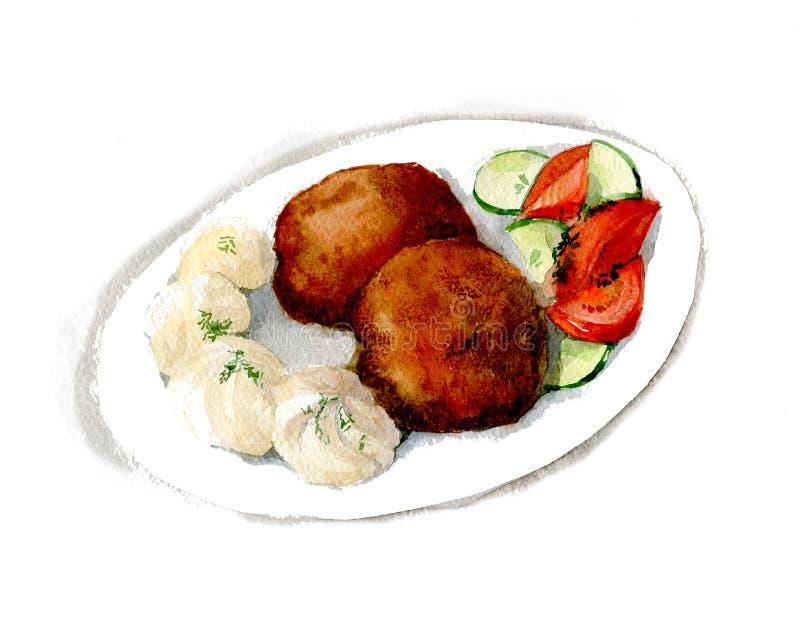 Kuchen, Kartoffelpüree, Tomaten- und Gurkensalat Russische Hausmannskost Handgezeichnete Wassercolo-Abbildung isoliert auf lizenzfreie stockfotografie