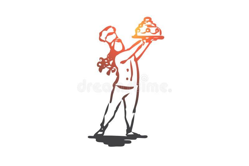 Kuchen, Konditor, kochend, Mädchen, süßes Konzept Hand gezeichneter lokalisierter Vektor vektor abbildung