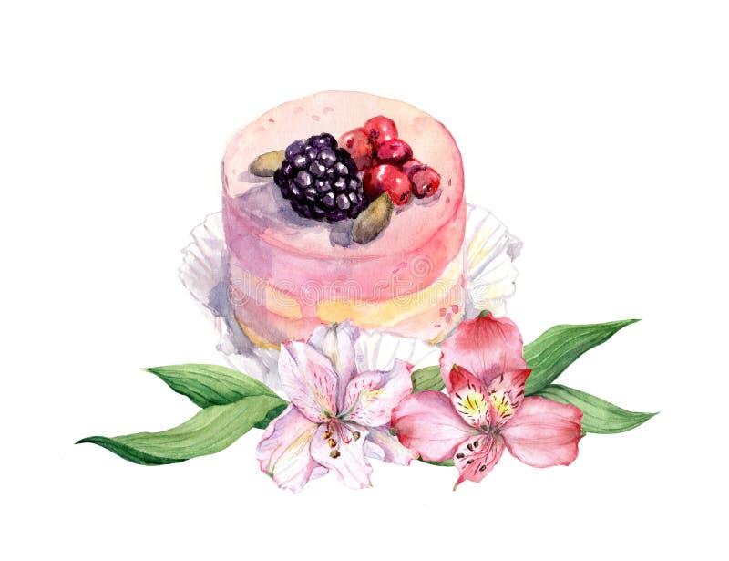 Kuchen mit Beeren und rosa Blumen watercolor vektor abbildung