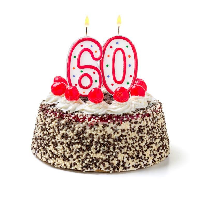Kuchen mit brennender Kerze Nr. 60 lizenzfreie stockbilder