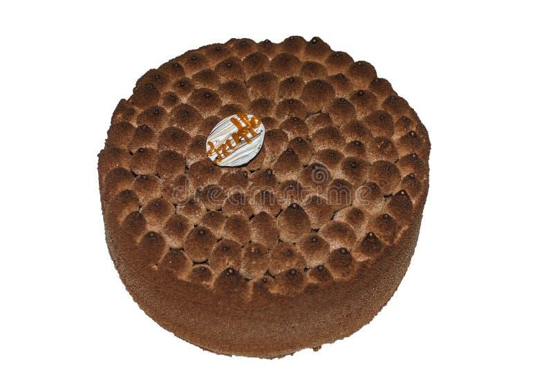 Kuchen mit Cappuccinogeschmack verziert mit Schokolade stockfotografie