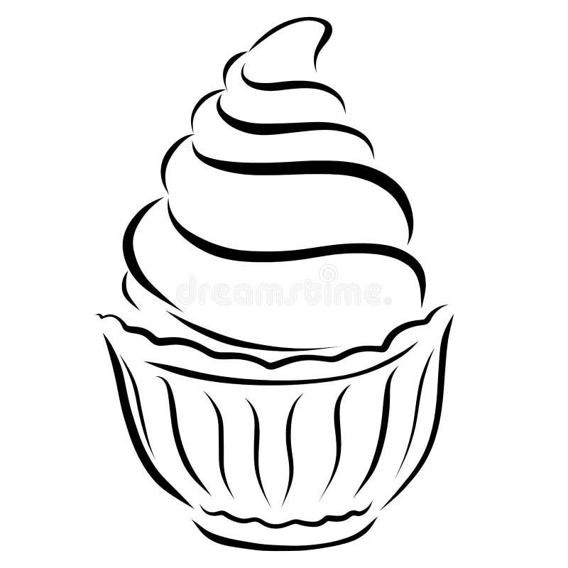 Kuchen mit Sahne oder Eiscreme stock abbildung