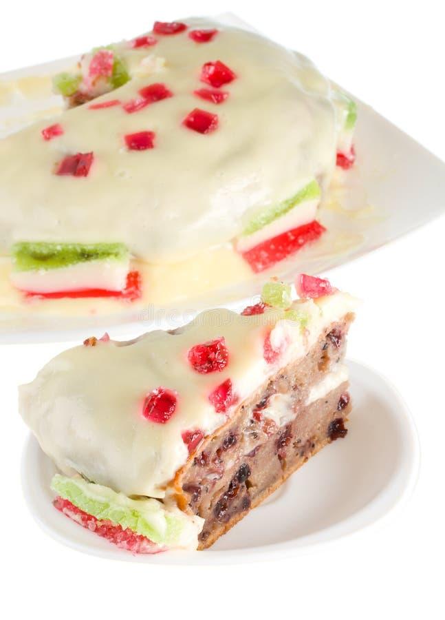 Kuchen mit Sahne und Fruchtgelee stockbilder