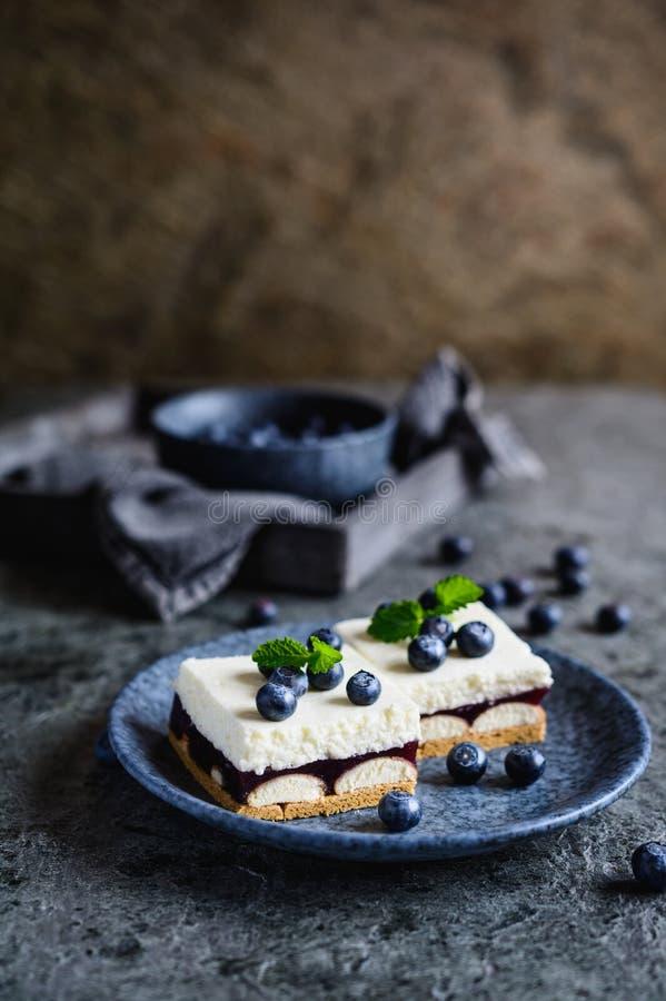 Kuchen mit Schicht Schwammkeksen, Blaubeergelee und Schlagsahne lizenzfreie stockbilder