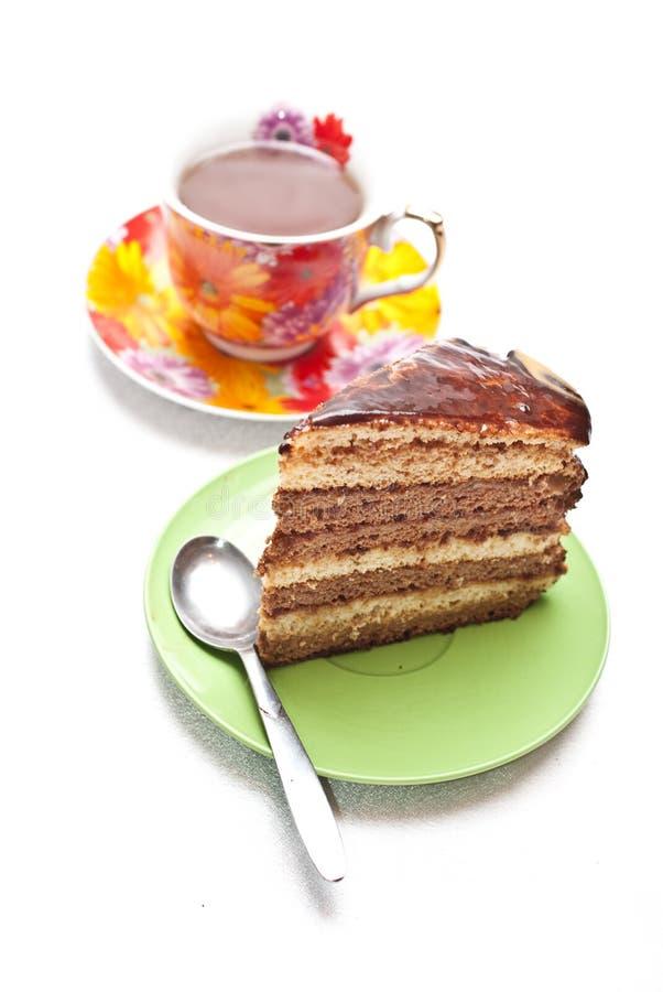 Download Kuchen mit Tee oder Kaffee stockbild. Bild von frühstück - 12202347