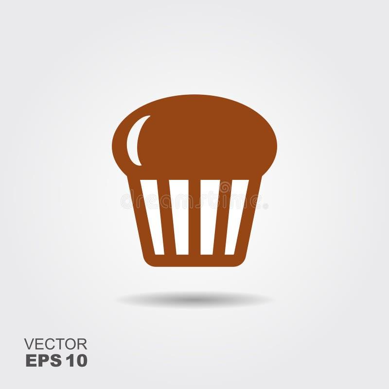 Kuchen-Muffin-flache Ikone vektor abbildung