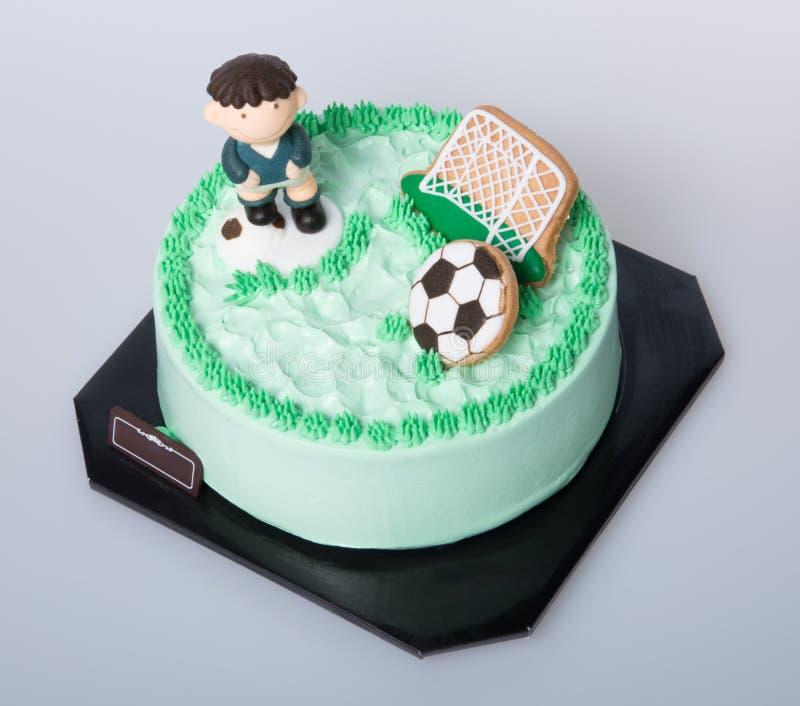 Kuchen Oder Fussballkuchen Auf Einem Hintergrund Stockbild