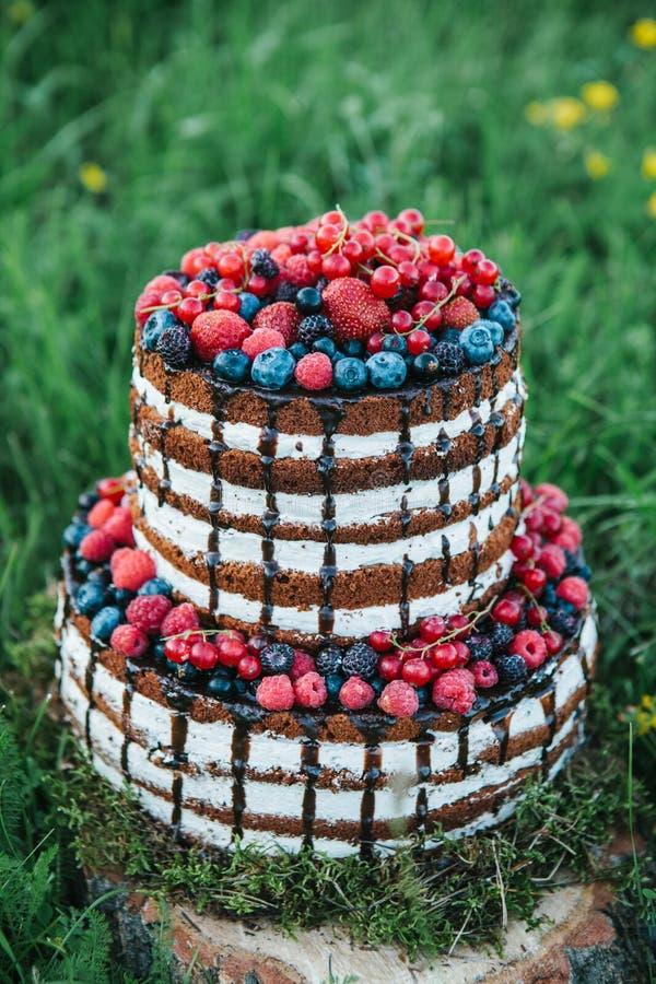 Kuchen oder Süßigkeiten für einen Geburtstag oder ein Feiertag oder eine Partei Backen Sie mit Beeren, Erdbeere, Himbeere, Blaube stockbild