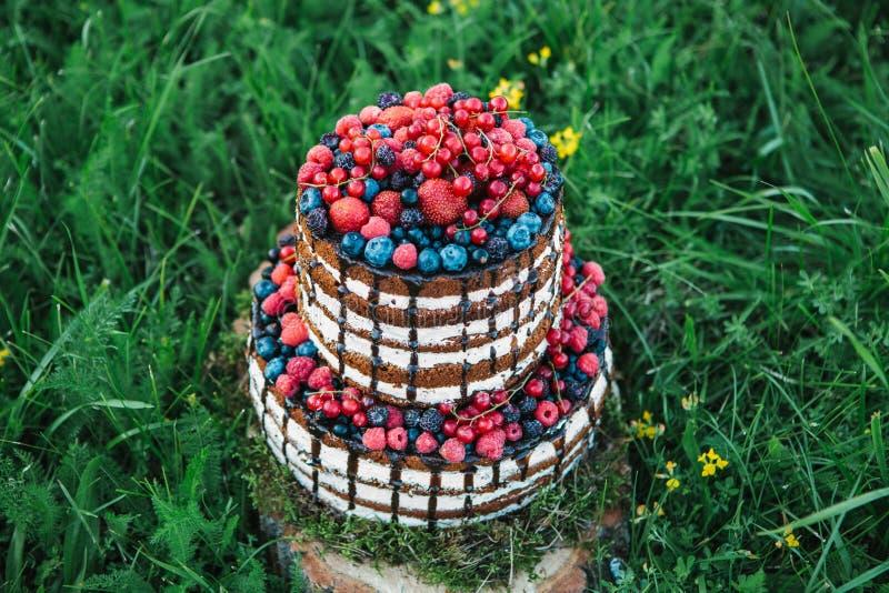 Kuchen oder Süßigkeiten für einen Geburtstag oder ein Feiertag oder eine Partei Backen Sie mit Beeren, Erdbeere, Himbeere, Blaube lizenzfreies stockbild