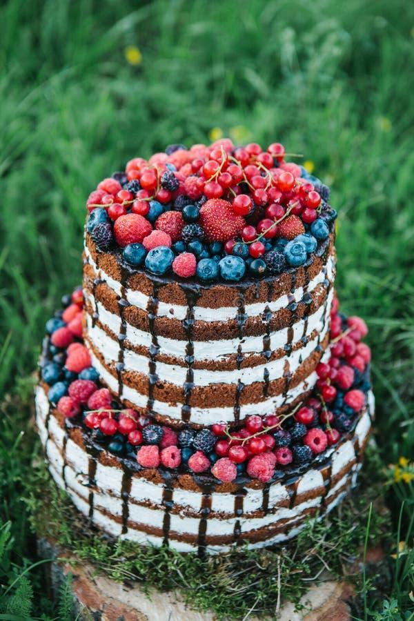 Kuchen oder Süßigkeiten für einen Geburtstag oder ein Feiertag oder eine Partei Backen Sie mit Beeren, Erdbeere, Himbeere, Blaube lizenzfreie stockbilder