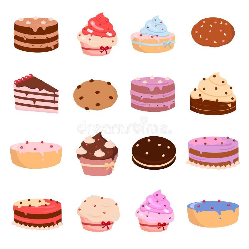 Kuchen und Bäckereiikonen eingestellt auf weißen Hintergrund für Grafik und Webdesign, modernes einfaches Vektorzeichen Hintergru lizenzfreie abbildung