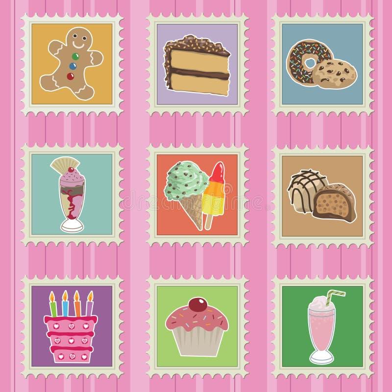 Kuchen- Und Bonbonstempel Stockbild