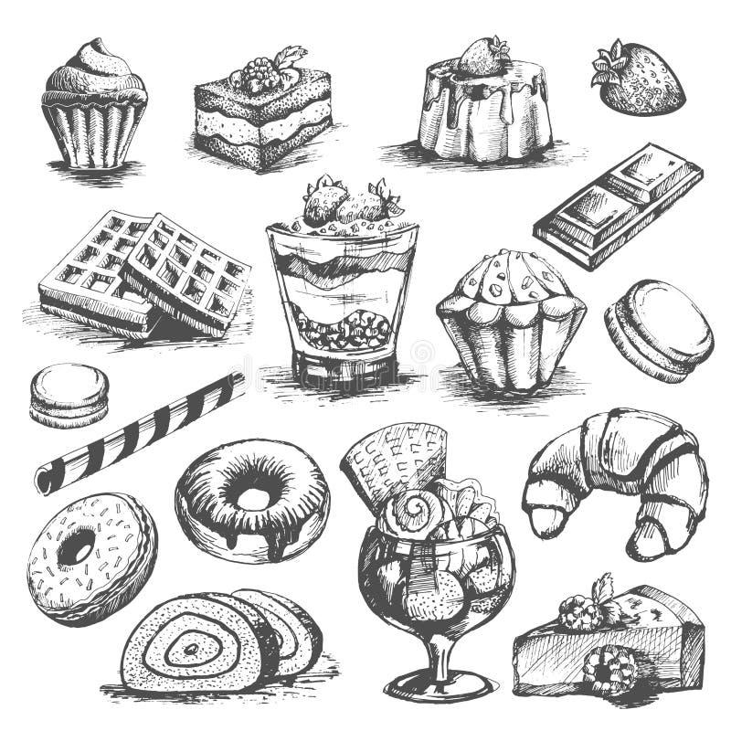 Kuchen- und Kuchengebäckbäckereinachtischvektor-Skizzenikonen eingestellt lizenzfreie abbildung