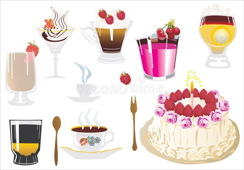 Kuchen und süße Cocktails stock abbildung
