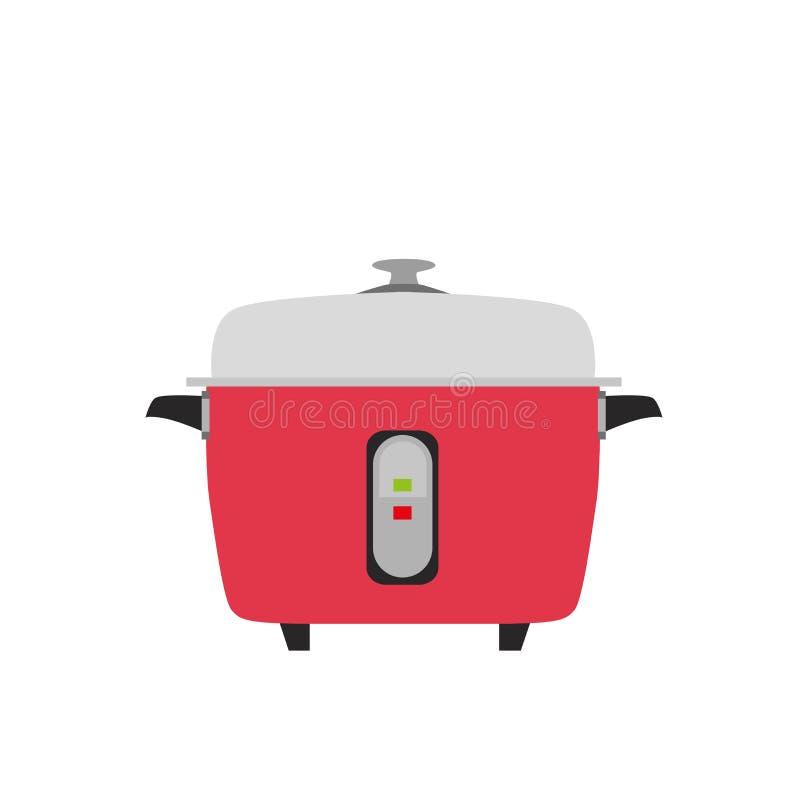 Kuchenka garnka przedmiota ryżowy wektorowy elektryczny ilustracyjny kuchenny karmowy tło ilustracji