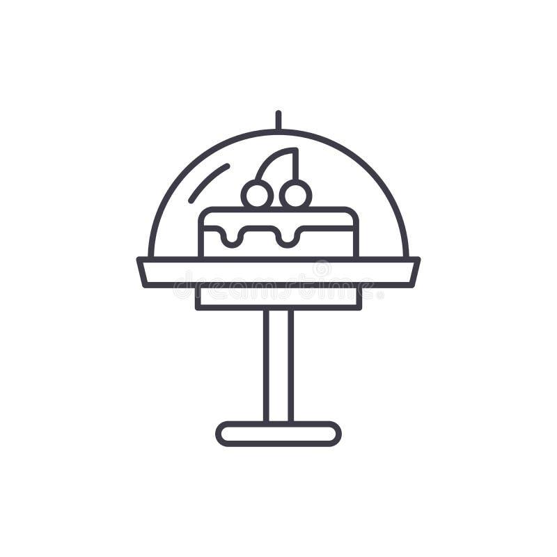 Kuchenlinie Ikonenkonzept Lineare Illustration des Kuchenvektors, Symbol, Zeichen stock abbildung