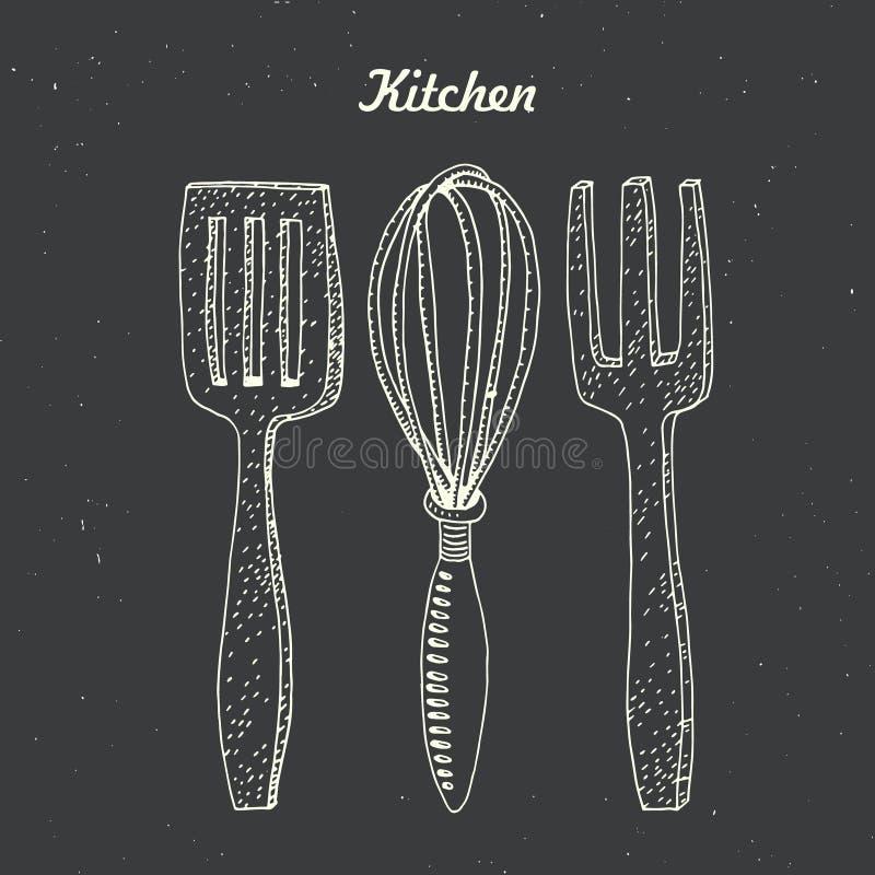 Kuchenna akcesoria szpachelka, śmignięcie i mieszać łyżkowego ilustracyjnego wektor, ilustracja wektor