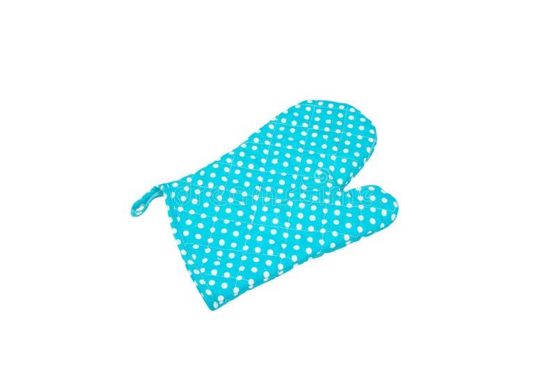 Kuchenna błękitna rękawiczka odizolowywająca na białym tle zdjęcie stock
