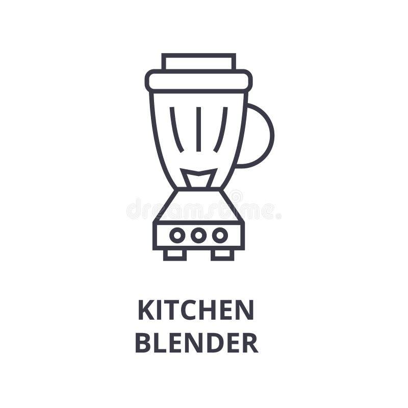 Kuchenna blender linii ikona, konturu znak, liniowy symbol, wektor, płaska ilustracja ilustracja wektor