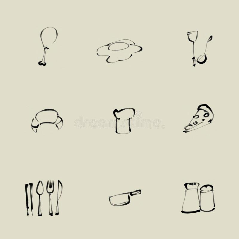 Kuchenna chińczyka muśnięcia ikona ilustracja wektor