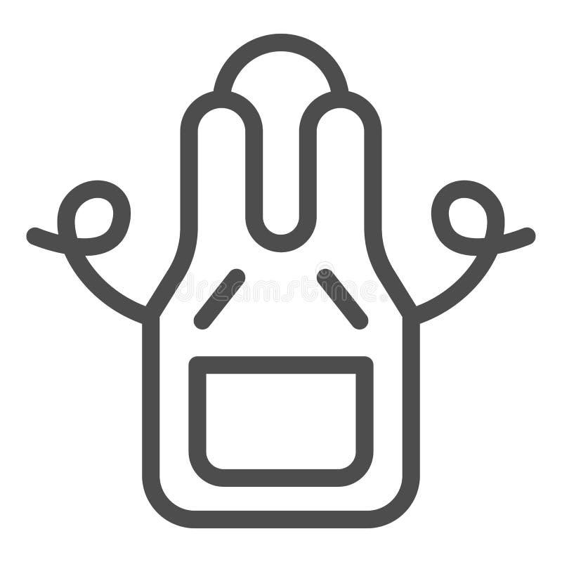 Kuchenna fartuch linii ikona Odzie?y wektorowa ilustracja odizolowywaj?ca na bielu Ubraniowy konturu stylu projekt, projektuj?cy  ilustracji