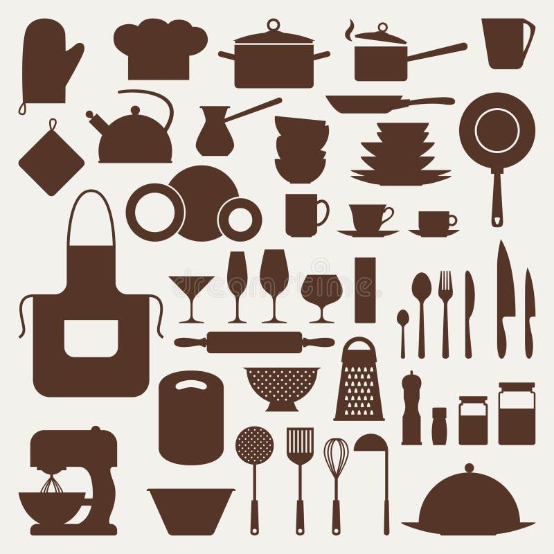 Kuchenna i restauracyjna ikona ustawiająca naczynia ilustracji