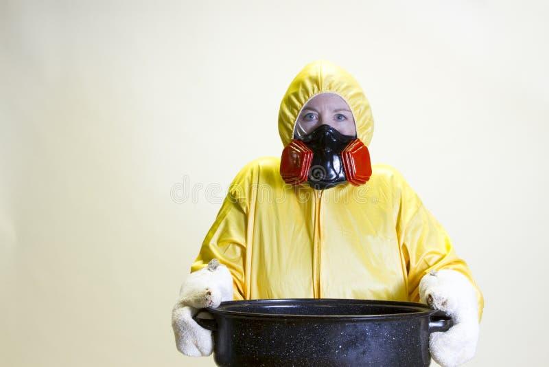 Kuchenna katastrofa, hazmat kostium zdjęcie royalty free