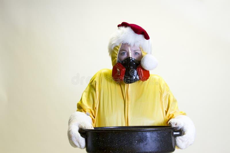 Kuchenna katastrofa, hazmat kostium i Santa kapelusz, zdjęcia royalty free