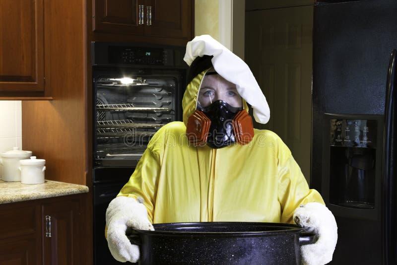 Kuchenna katastrofa z HazMat kostiumem fotografia stock