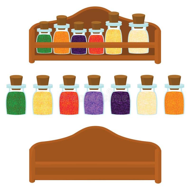 Kuchenna półka z pikantność różni kolory wektorowi ilustracji