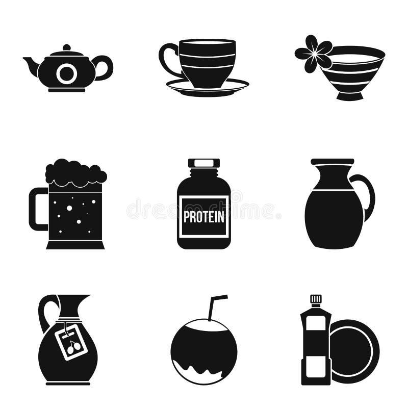 Kuchenne czajnik ikony ustawiać, prosty styl ilustracja wektor