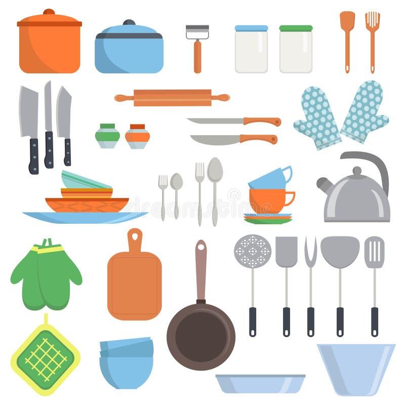 Kuchenne equipments i naczyń duże ustalone ikony odizolowywać na białym tle Gotować wytłacza wzory przedmioty inkasowych ilustracji