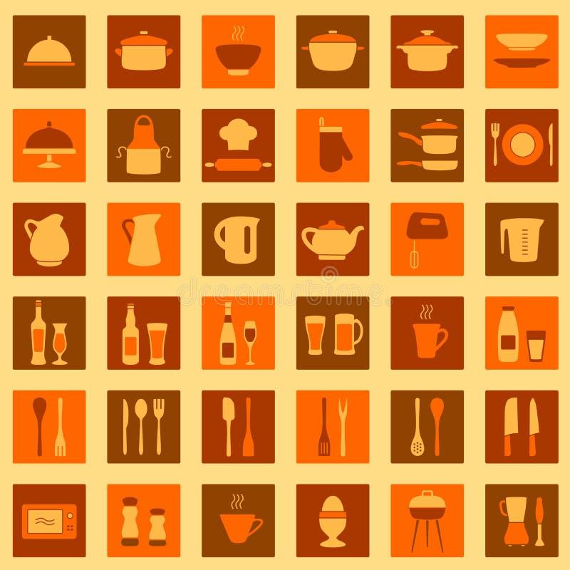 Kuchenne ikony ilustracji