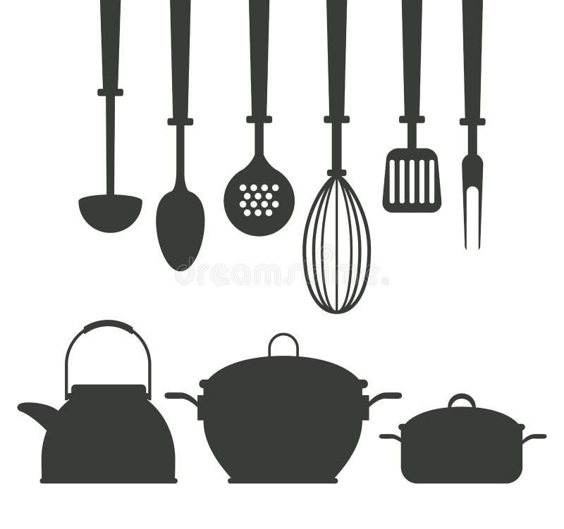 Kuchenne naczynie ikony royalty ilustracja