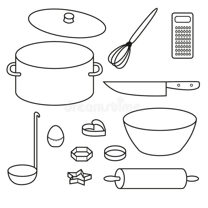 Kuchenne naczynie ikony Ustawiać ilustracji