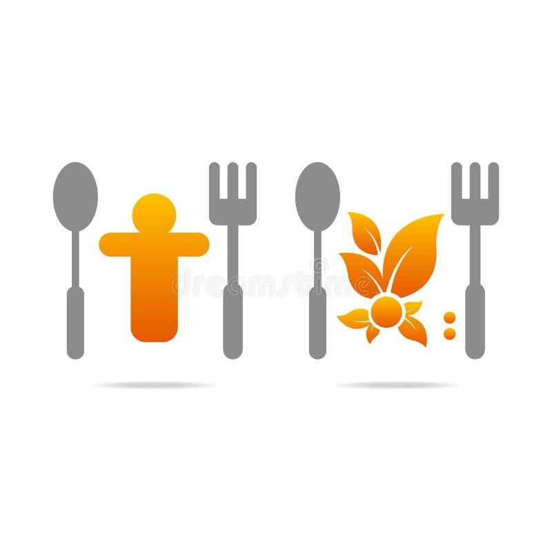 Kuchennego biznesowego ikony rozwidlenia mężczyzna łyżkowy menu ilustracji