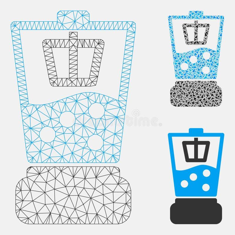 Kuchennego Blender siatki Drucianej ramy trójboka i modela mozaiki Wektorowa ikona royalty ilustracja