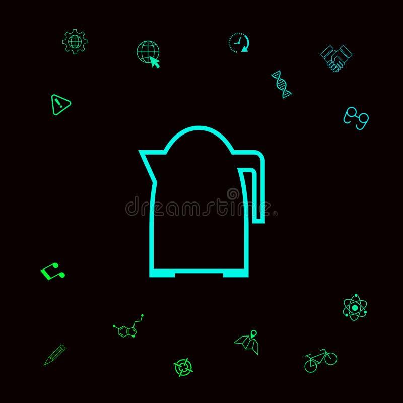Kuchennego czajnika liniowa ikona Graficzni elementy dla twój designt ilustracji