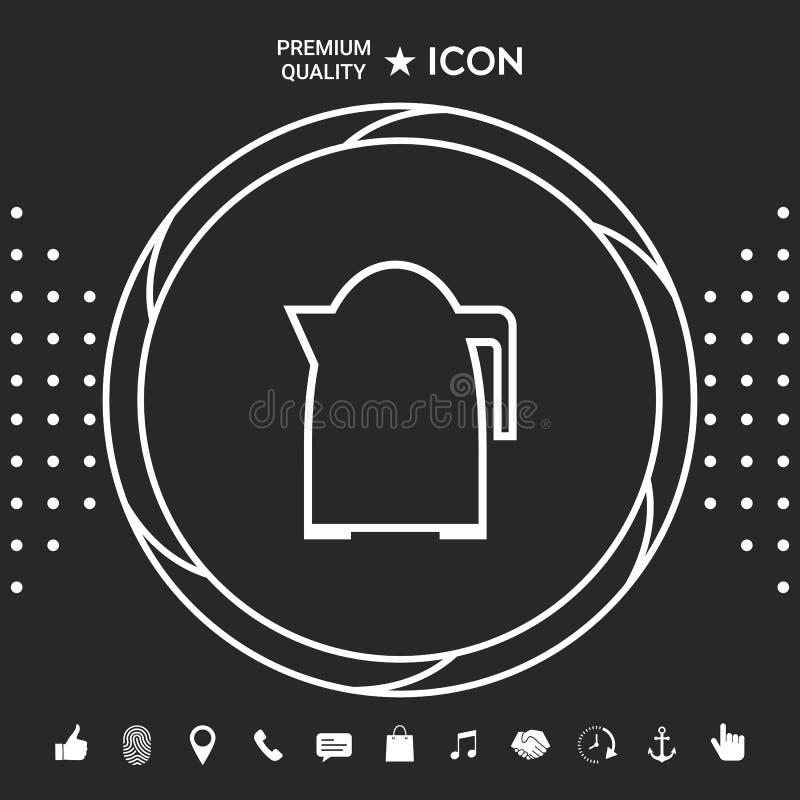 Kuchennego czajnika liniowa ikona Graficzni elementy dla twój designt royalty ilustracja