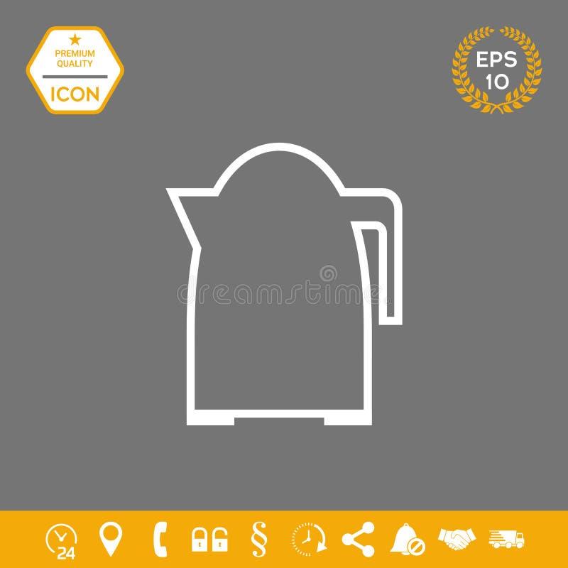 Kuchennego czajnika liniowa ikona Graficzni elementy dla twój projekta ilustracja wektor