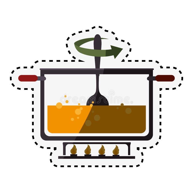 kuchennego garnka kulinarna ikona royalty ilustracja