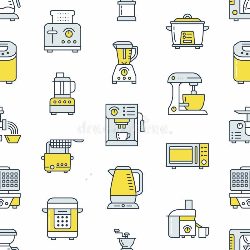 Kuchennego małego urządzenia wyposażenia bezszwowy wzór z mieszkanie linii ikonami ilustracja wektor