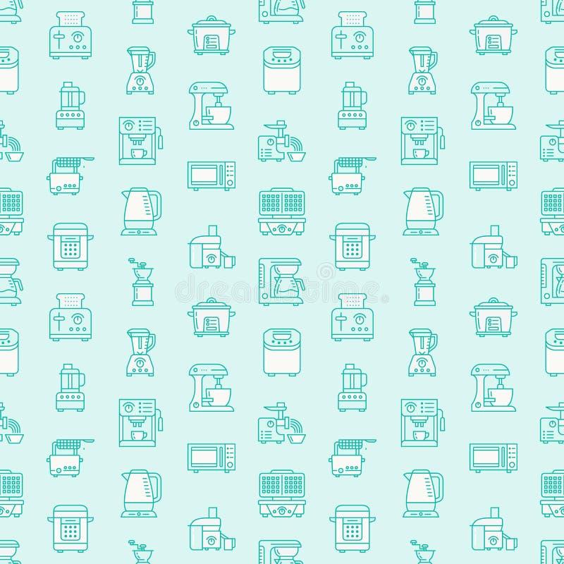 Kuchennego małego urządzenia wyposażenia mieszkania linii błękitne bezszwowe deseniowe ikony Gospodarstwa domowego kucharstwa nar ilustracji