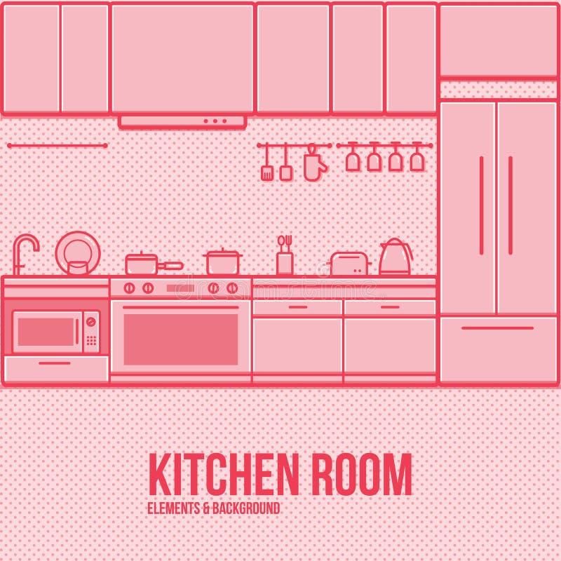 Kuchennego meblarskiego elementu tła cienki kreskowy nowożytny płaski projekt ilustracja wektor