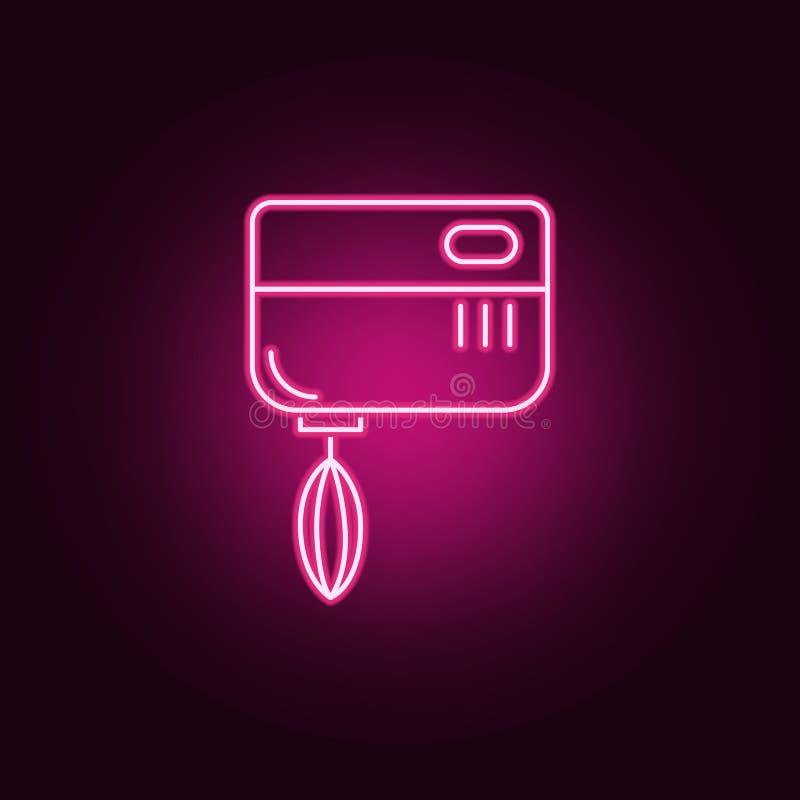 kuchennego melanżeru neonowa ikona Elementy kuchnia set Prosta ikona dla stron internetowych, sie? projekt, mobilny app, ewidency royalty ilustracja