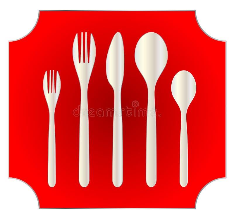 Kuchennego rozwidlenia cutlery naczynia silverware nożowy łyżkowy jedzenie ilustracja wektor