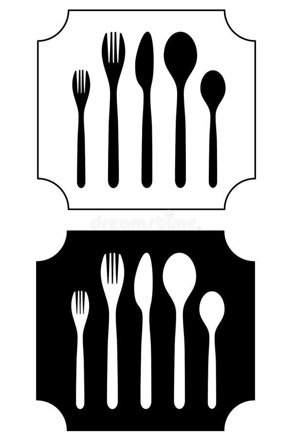 Kuchennego rozwidlenia cutlery naczynia silverware nożowy łyżkowy jedzenie royalty ilustracja